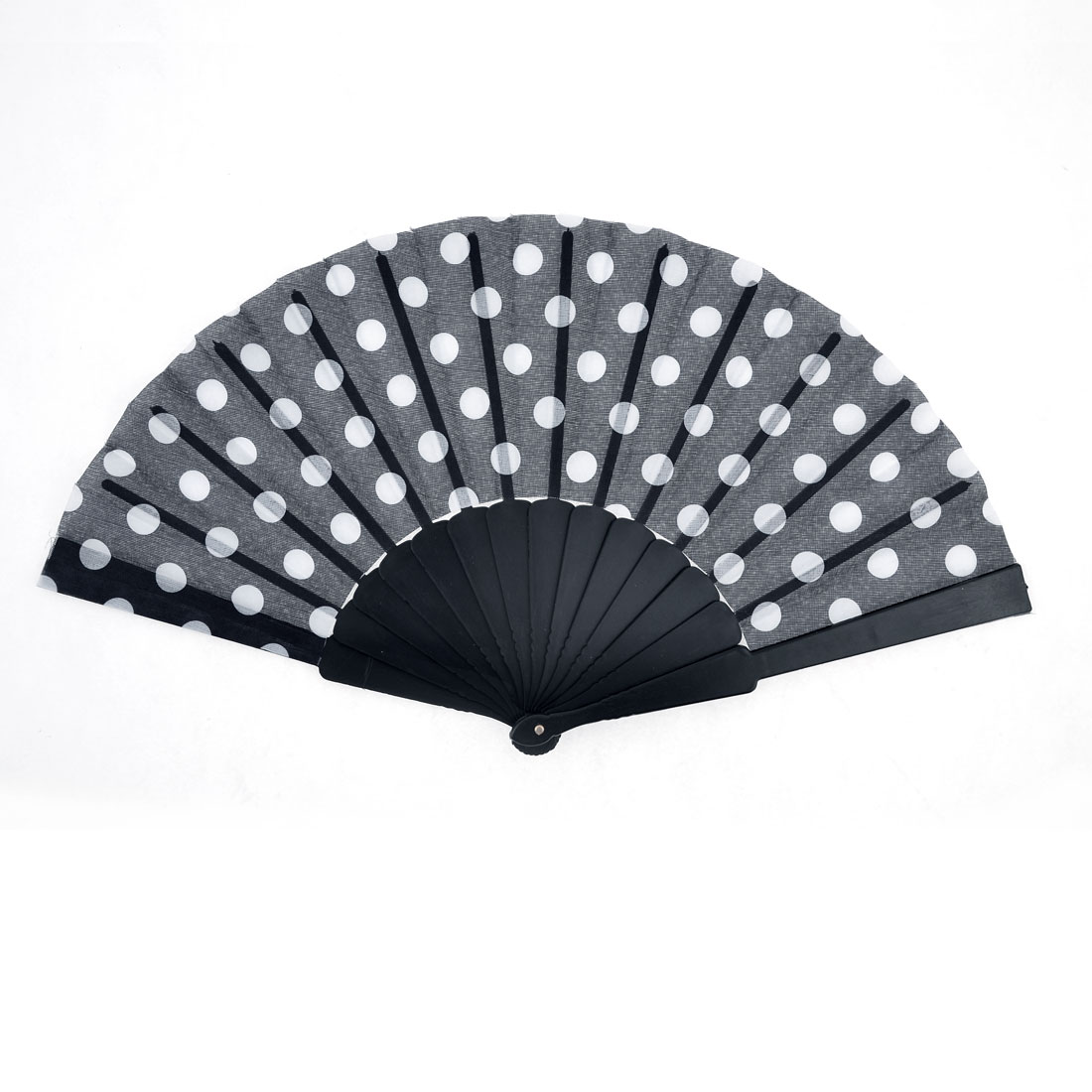 Dots Print Plastic Frame Folding Hand Fan Black White for Woman