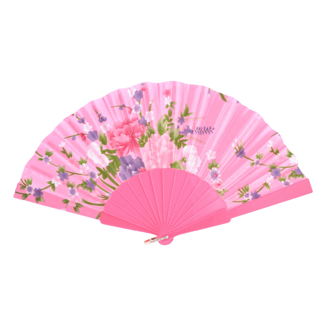 Peony Print Folding Hand Shaking Fan Pink Green for Dancing