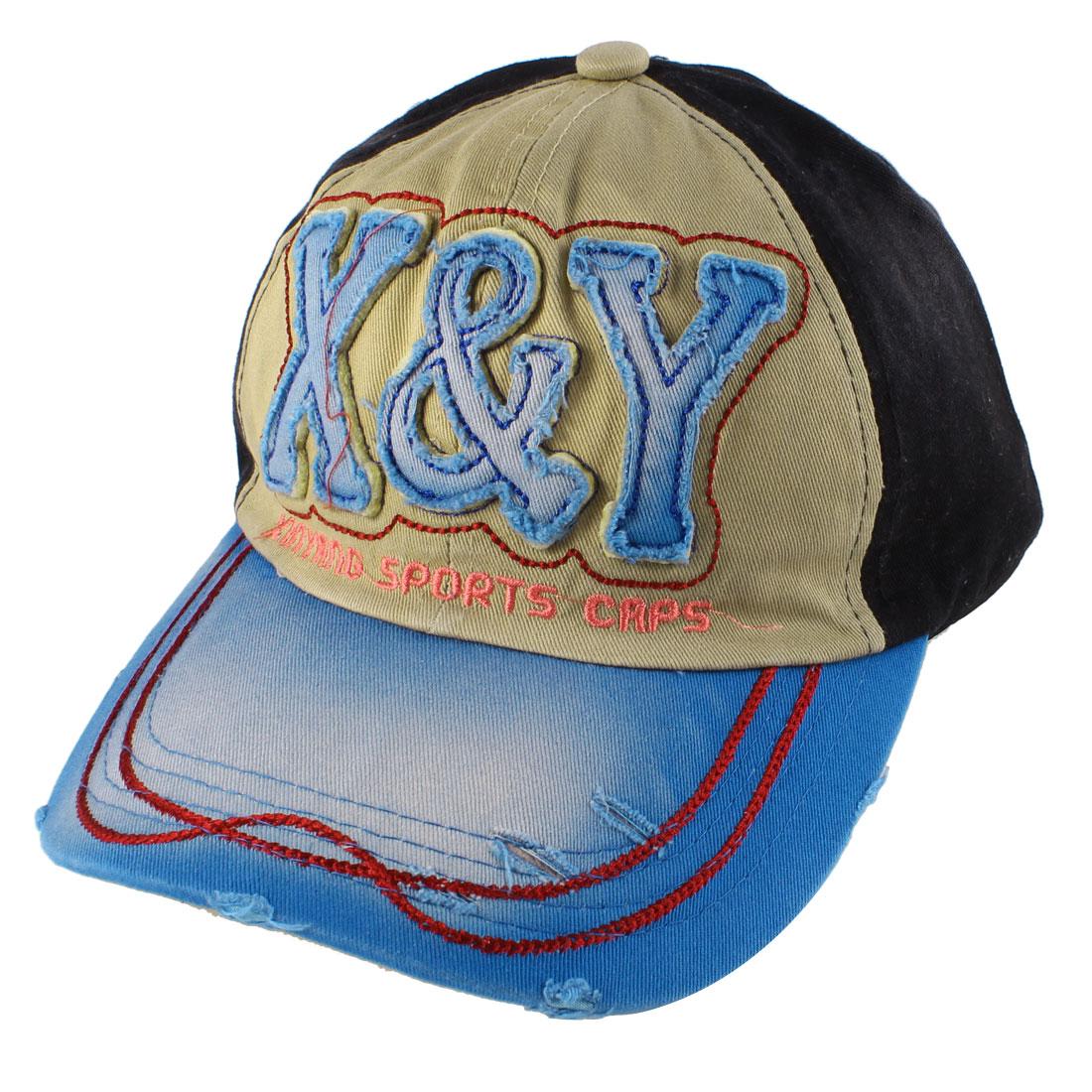 Unisex Embroidering Letter Side Decor Adjustable Baseball Hat Khaki Blue