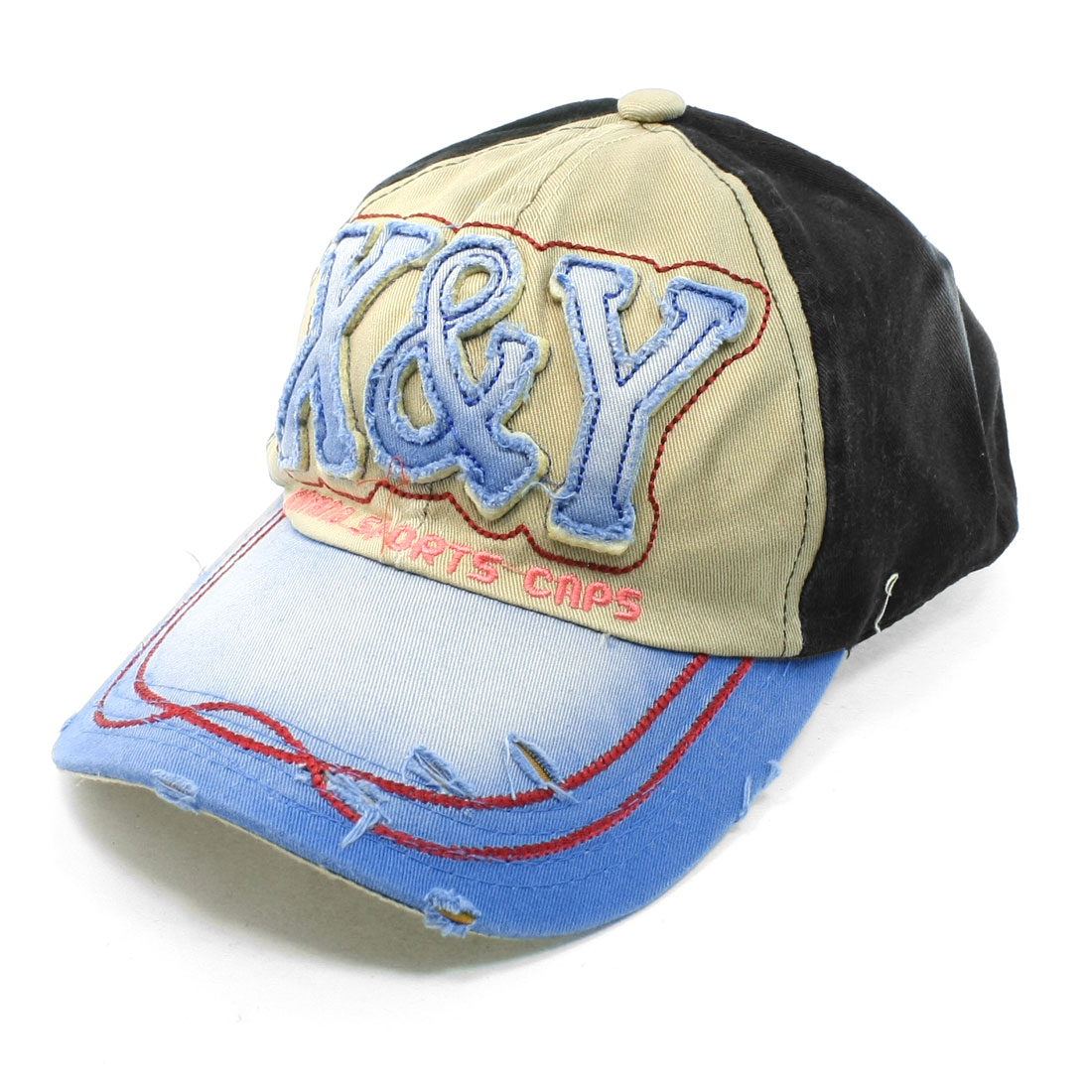 Unisex Embroidering Letter Side Decor Adjustable Baseball Hat Khaki Blue