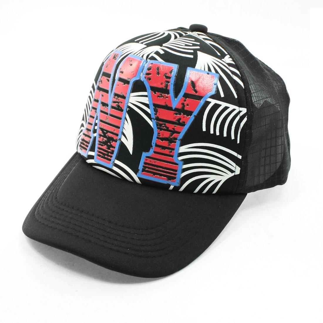 Breathable Mesh Designed Back Adjustable Black Red Peaked Cap for Unisex