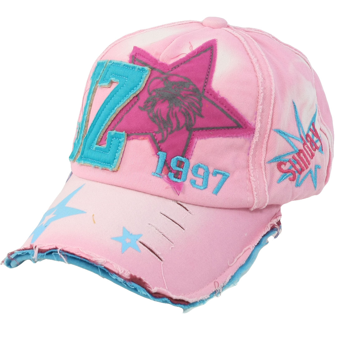 Letter Star Decor Visor Closed Sport Baseball Hat Pink Green Red for Girl