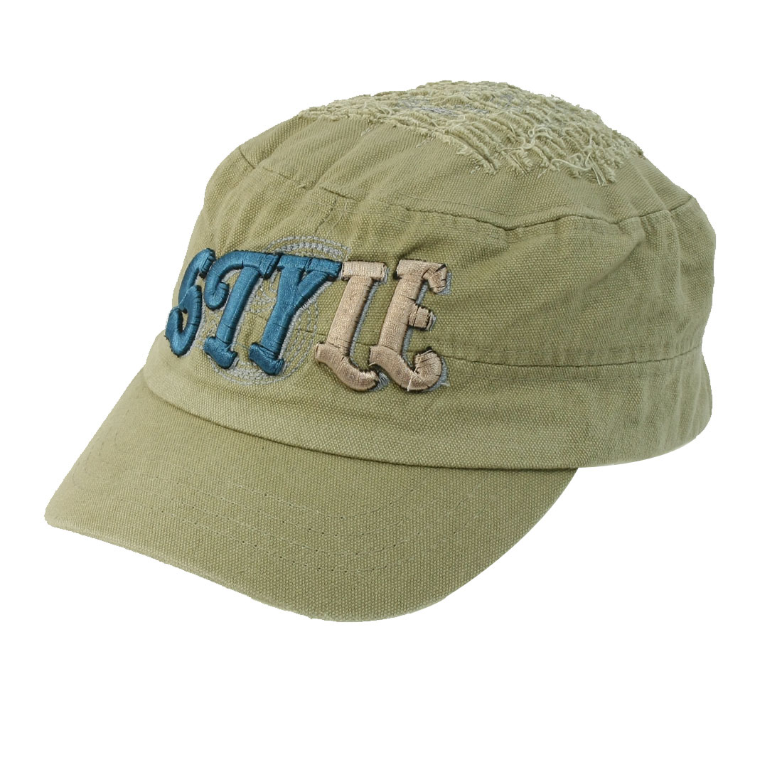 Unisex Embroidering Letter Front Decor Adjustable Peaked Cap Khaki