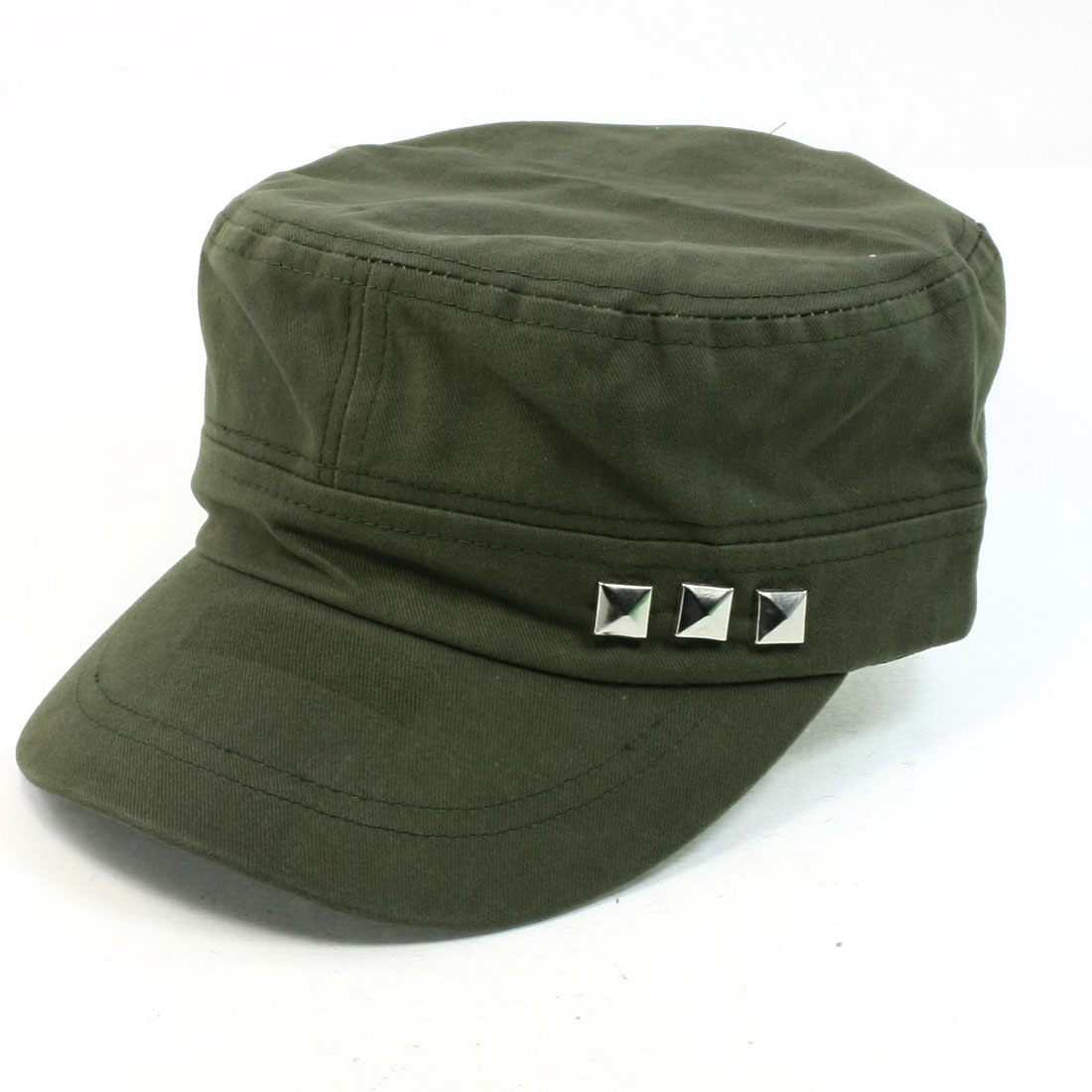 Metal Stud Dec Army Green Adjustable Headband Warp Beach Visor Peaked Cap for Unisex