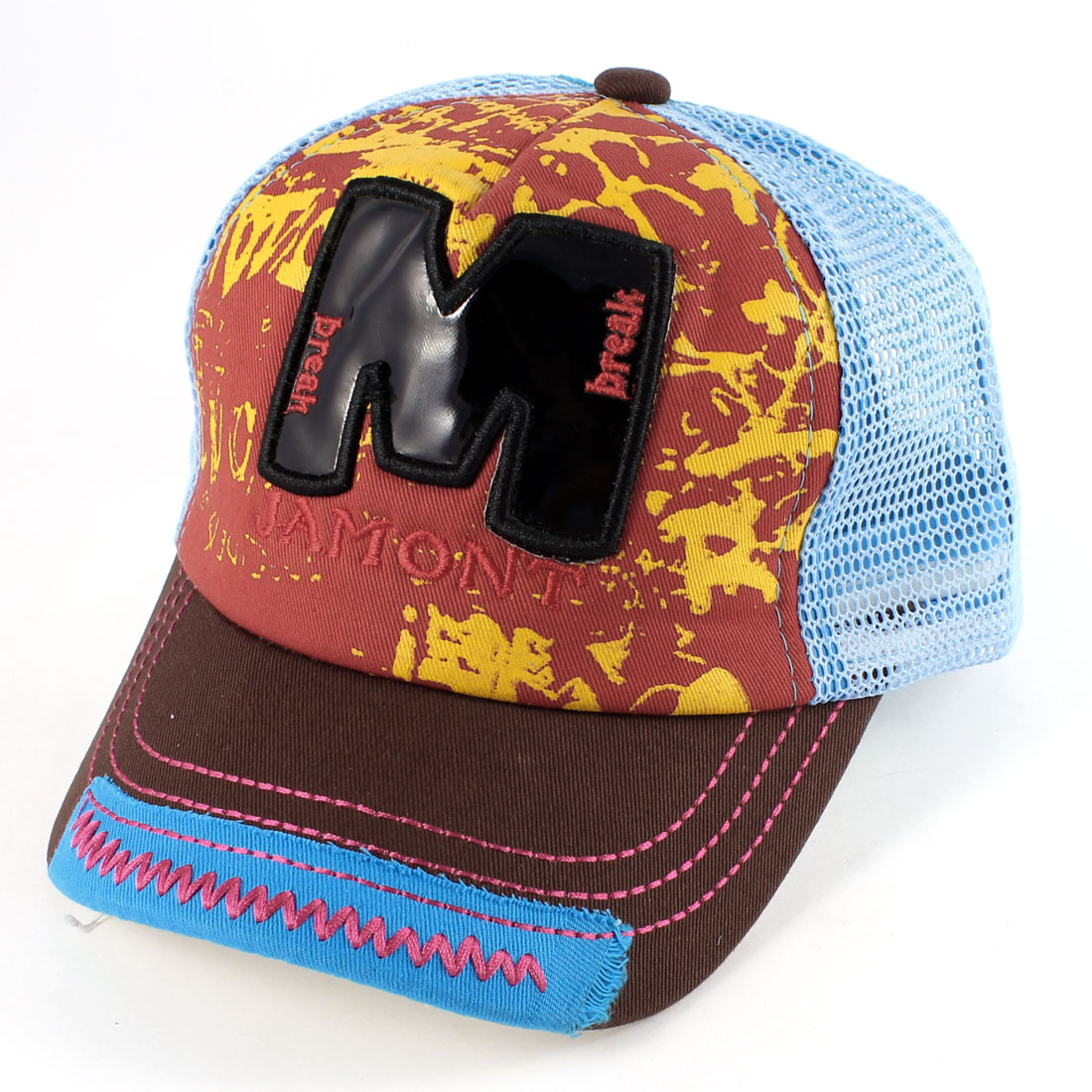 Unisex Letters Print Embellished Front Casual Summer Peaked Cap Blue Brown