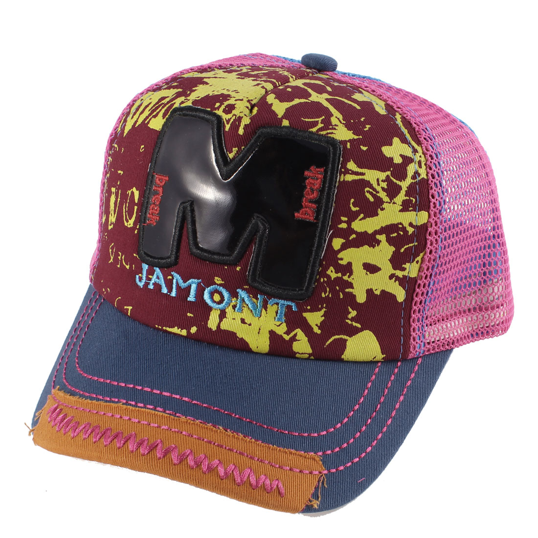 Unisex Letters Print Embellished Front Casual Summer Peaked Cap Blue Red