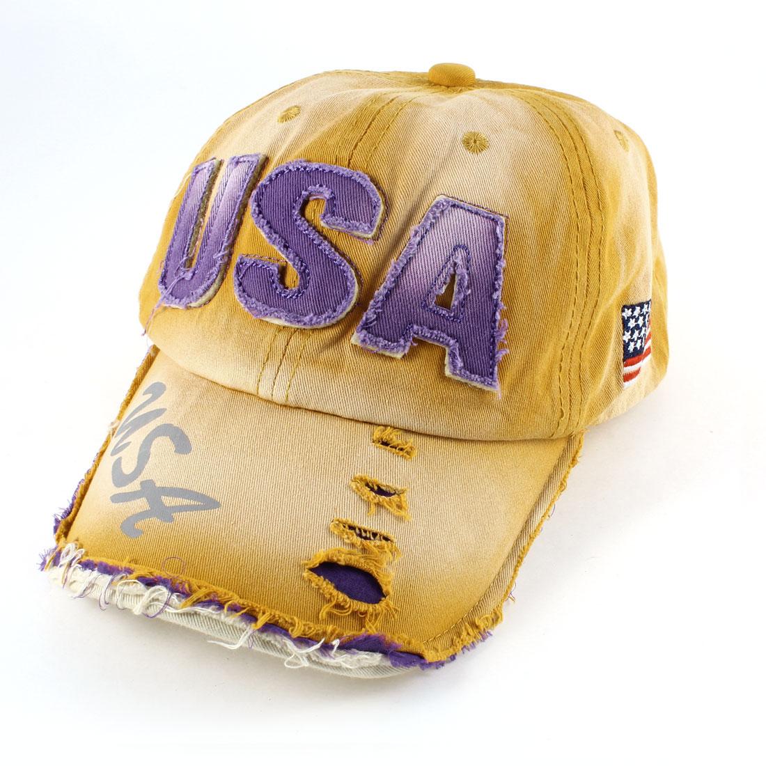 Unisex Purple Letter Pattern Wide Visor Baseball Hat Cap Orange