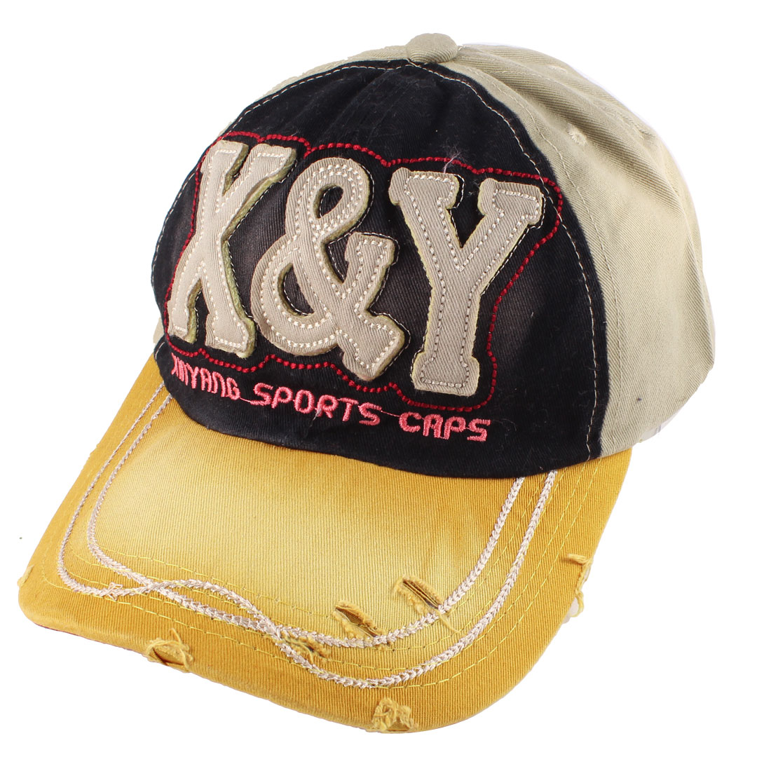 Man Woman Wide Sun Visor Letters Pattern Sport Hat Cap Khaki Yellow