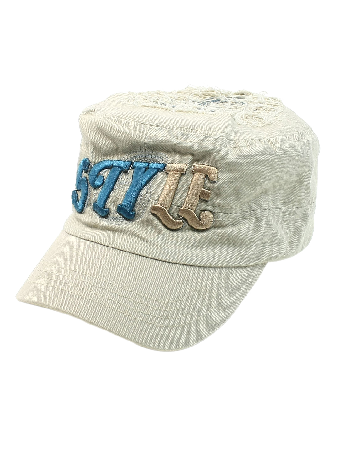 Unisex Embroidering Letter Front Decor Adjustable Peaked Cap Light Gray