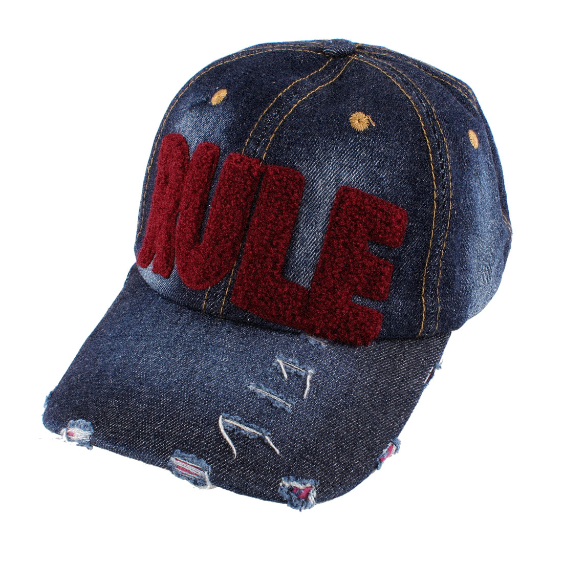 Unisex Embroidering Carmine Letter Decor Adjustable Baseball Hat Denim Blue