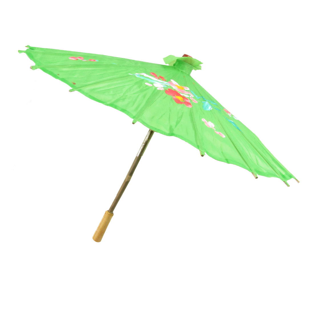 "Handy Flower Print 21"" Dia Foldable Japanese Chinese Umbrella Parasol Green"