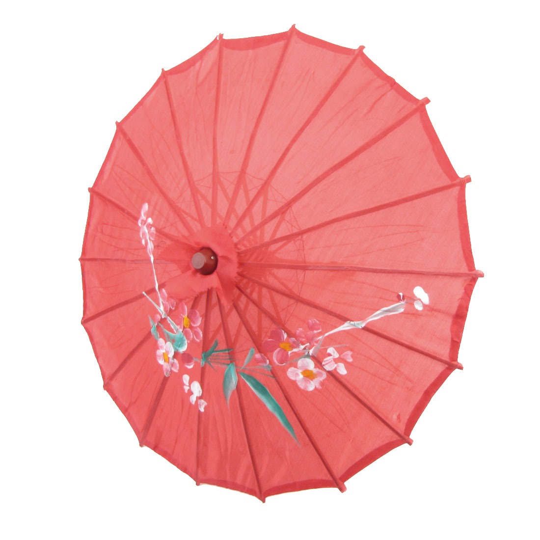 "Flower Print Red Cloth Bamboo 21"" Dia Chinese Oriental Umbrella Parasol"