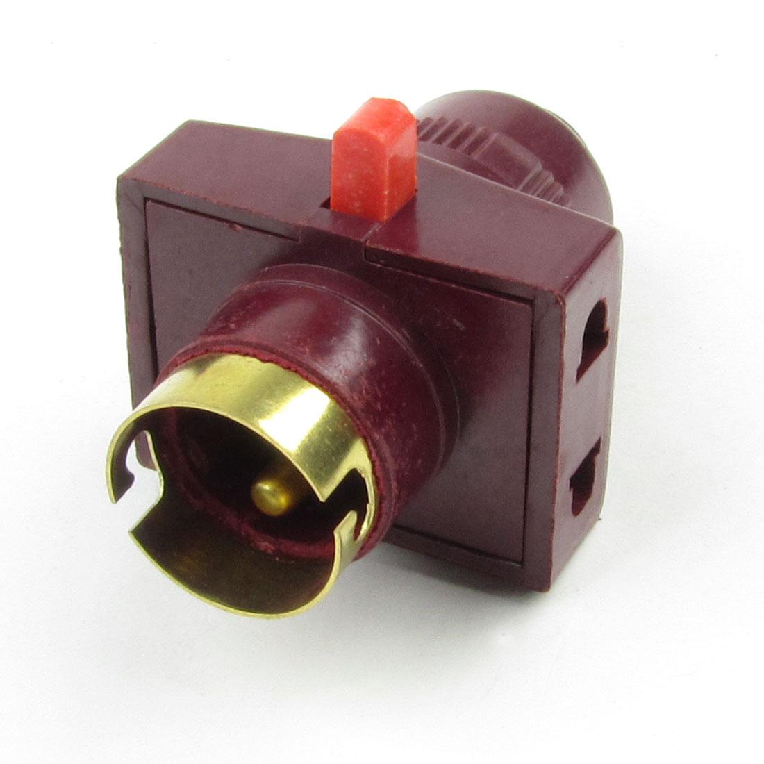 Burgundy Gold Tone Plastic Case B22 Socket Bulb Lamp Holder 6A 220V