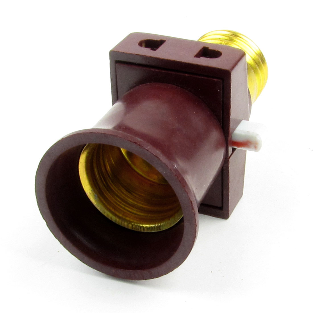 Burgundy Gold Tone Plastic Shell Bulb Socket Lamp Holder 6A 220V