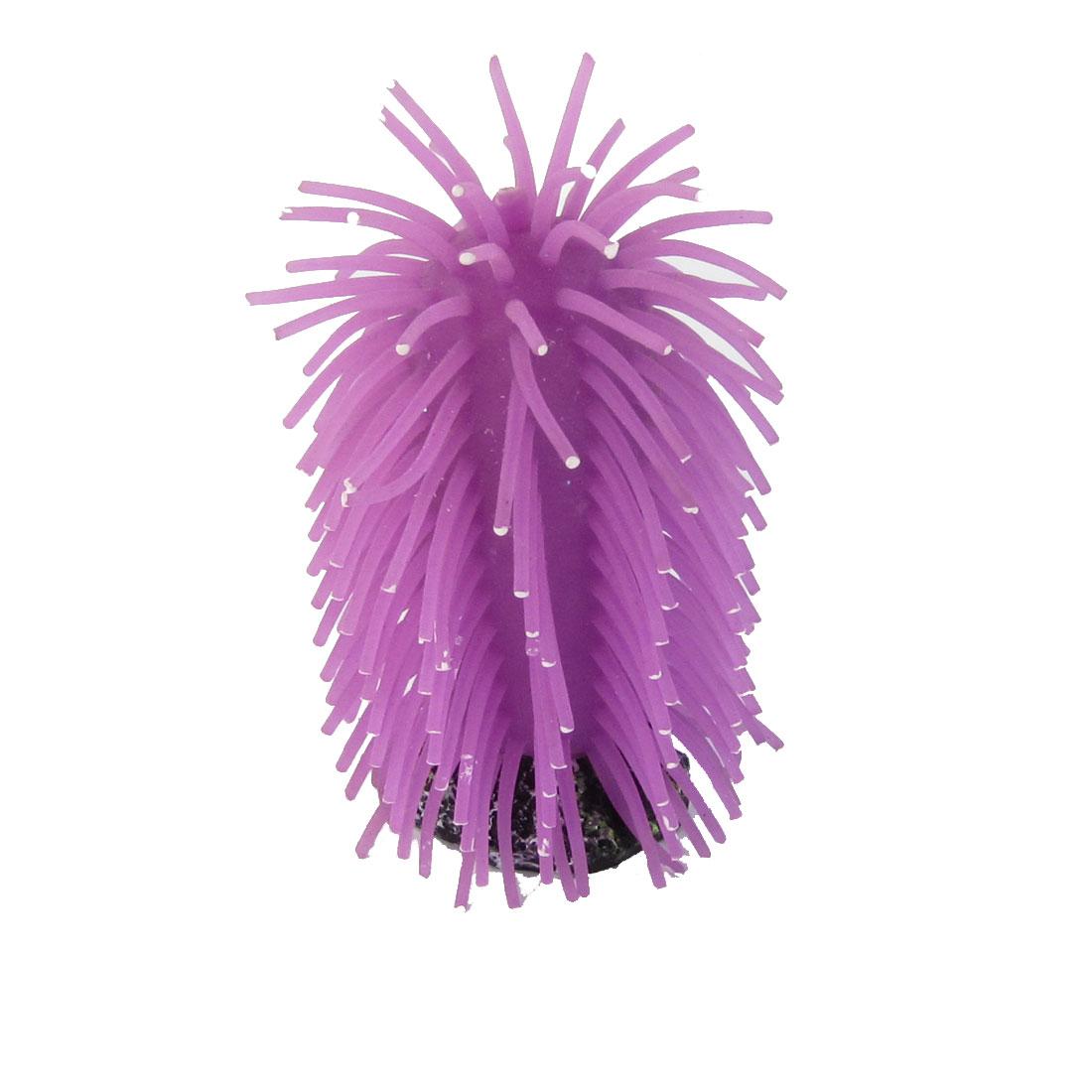 "3.5"" Height Aquarium Purple Artificial Silicone Coral Anemone Ornament"