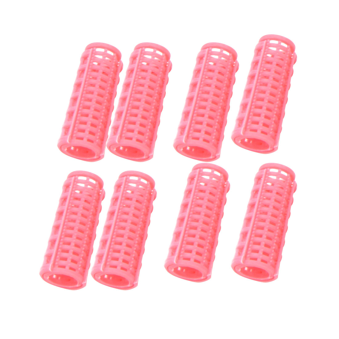 8 Pcs Pink Plastic DIY Hair Styling Salon Curlers Roller for Ladies
