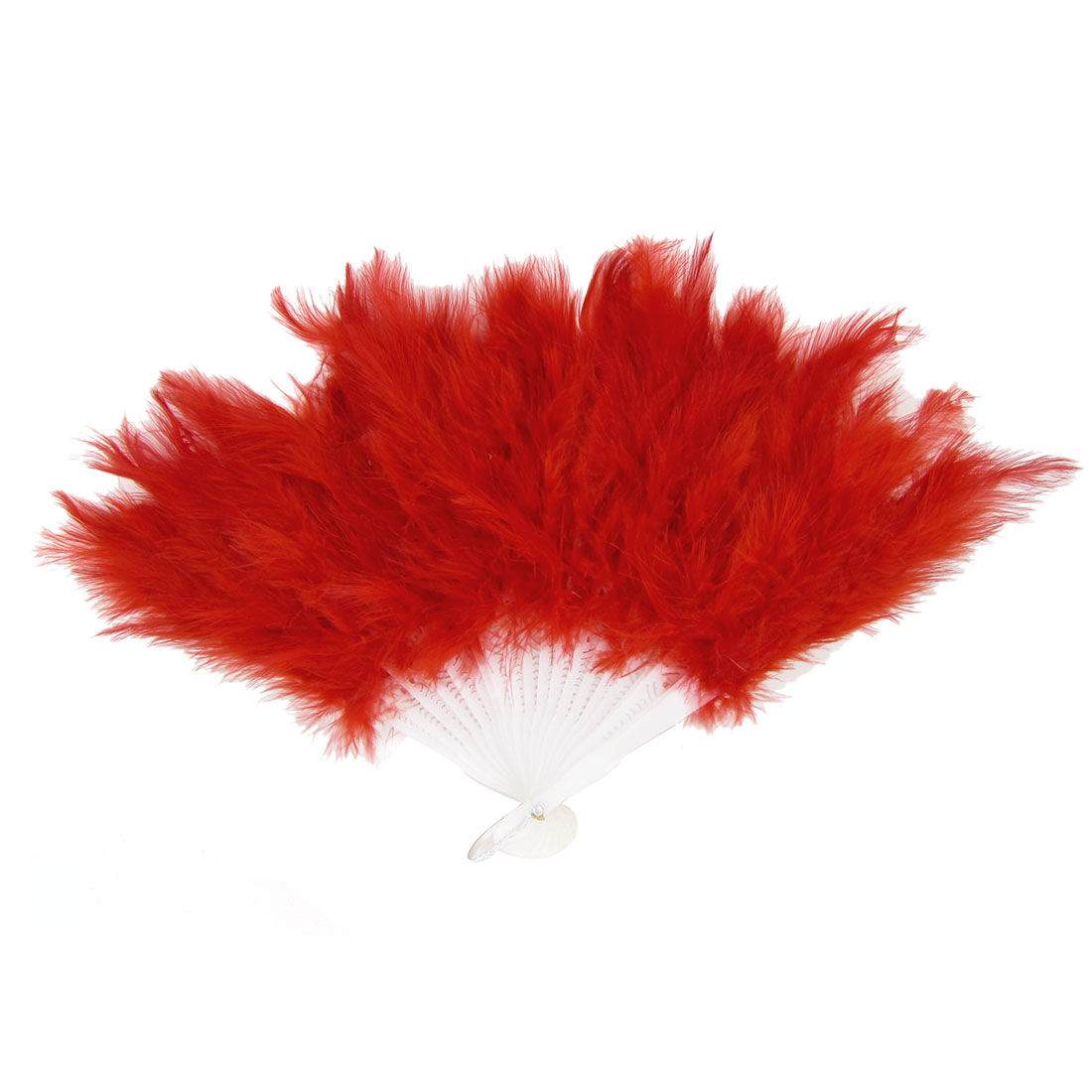 Ladies Plastic Frame Feather Decor Foldable Hand Dancing Fan Red