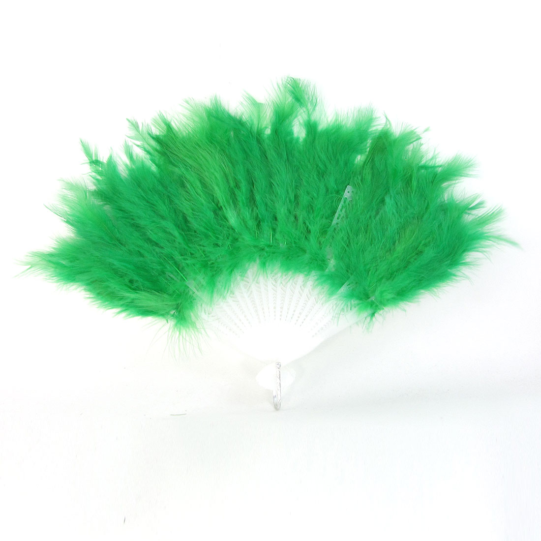 Ladies Plastic Frame Feather Decor Foldable Hand Dancing Fan Green