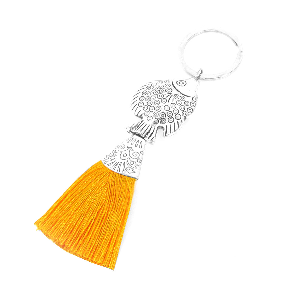 Dark Yellow Tassel Detail Metallic Fish Design Pendant Key Ring Keychain