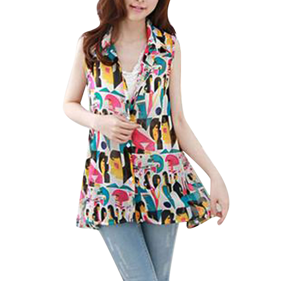 Women Point Collar Button Front Sleeveless Design Summer Shirt Multicolor S