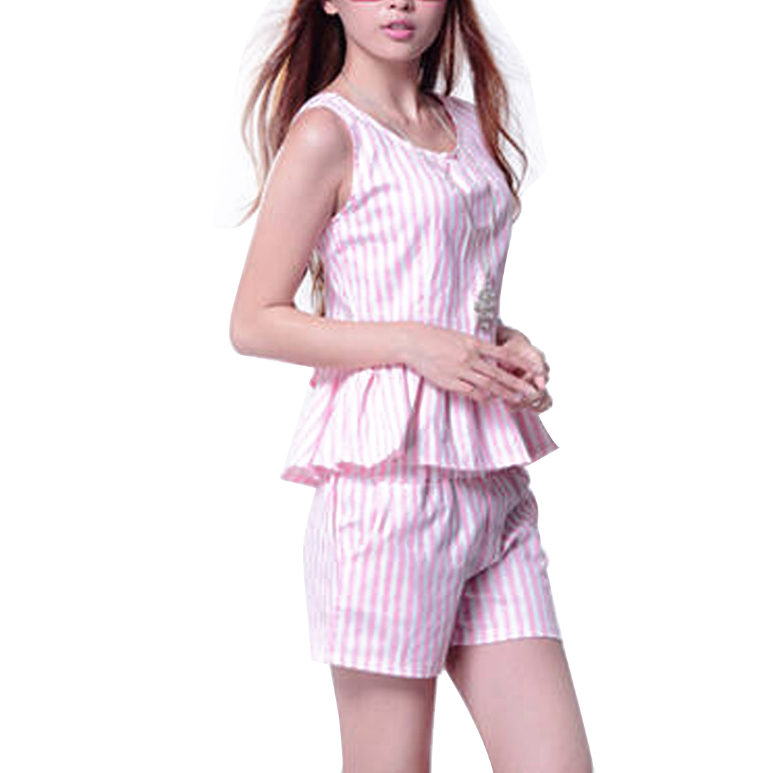 Ladies Stripes Print Sleeveless Top w Stretchy Waist Summer Shorts Pink XS