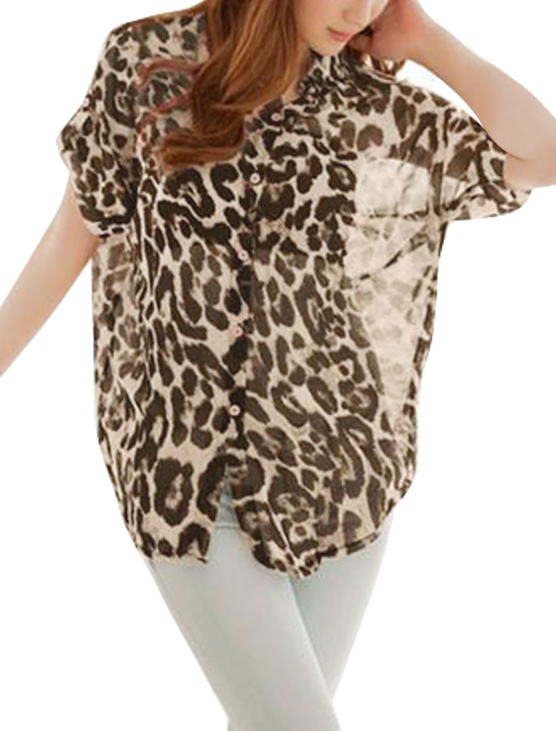 Women Brown XL Batwing Sleeve Point Collar Leopard Pattern Button Up Shirt