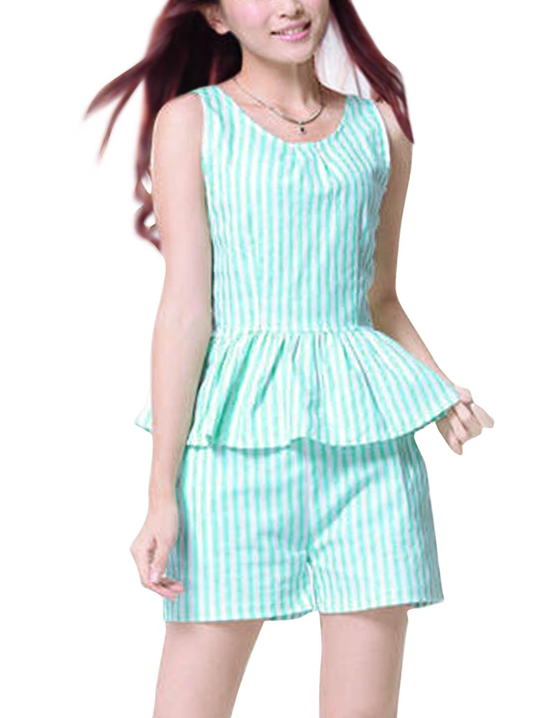 Mint XS Two Tone Color Block Shorts w Asymmetric Neck Style Women Tank Top