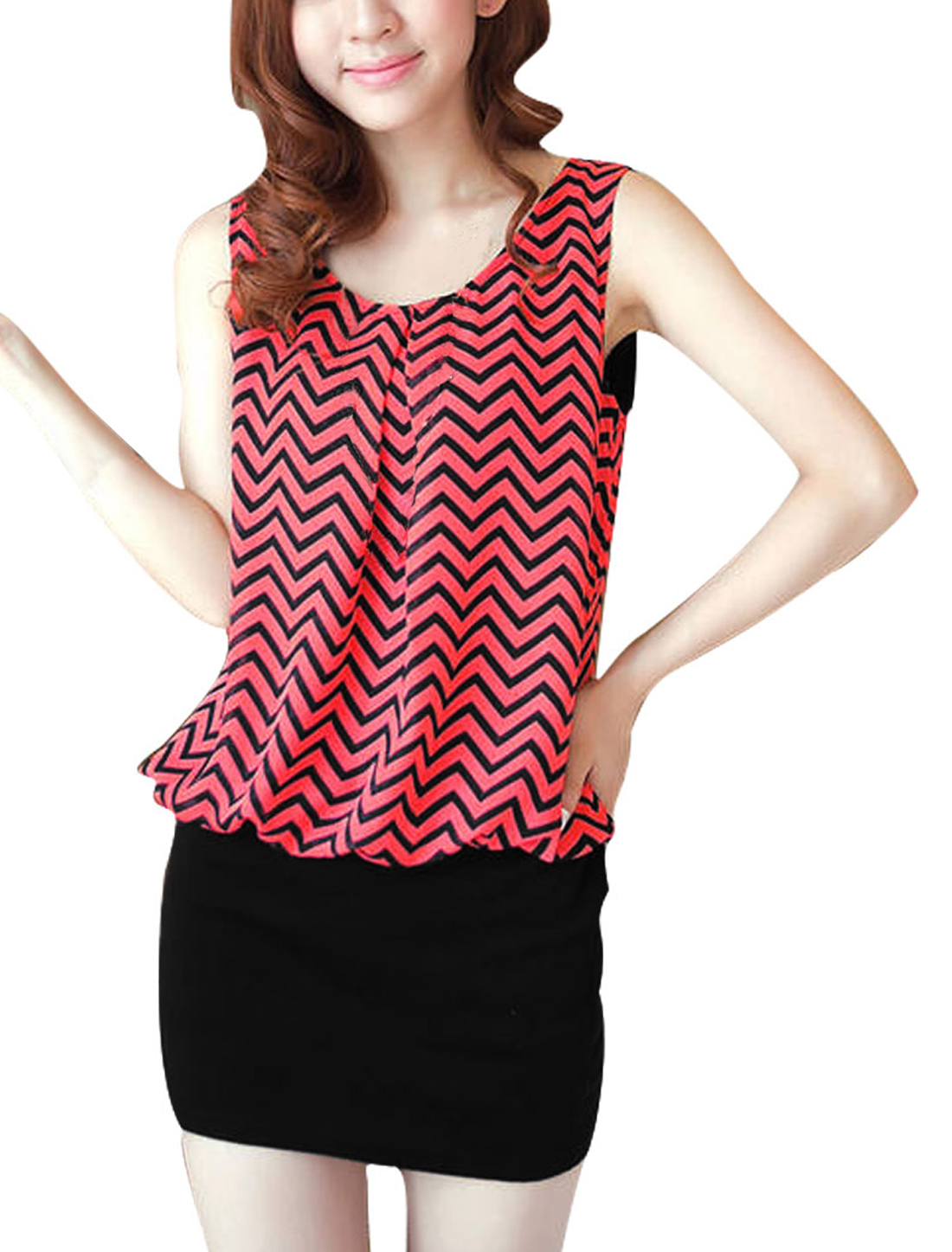 Ladies Chic Round Neck Orange Black Zig Zag Pattern Splice Mini Dress XS
