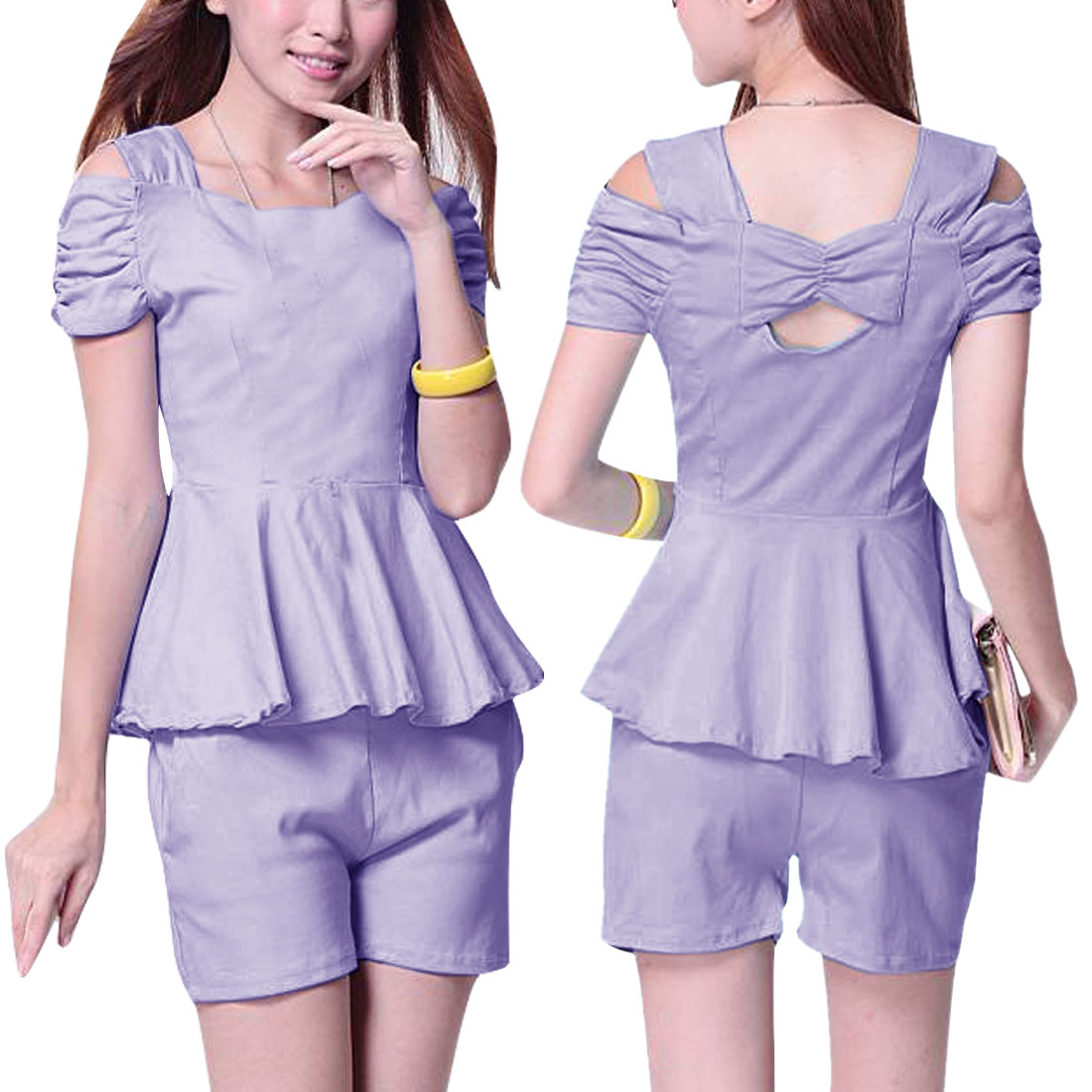 Woman Cutout Shoulder Peplum Top w Elastic Waist Shorts Light Purple XS