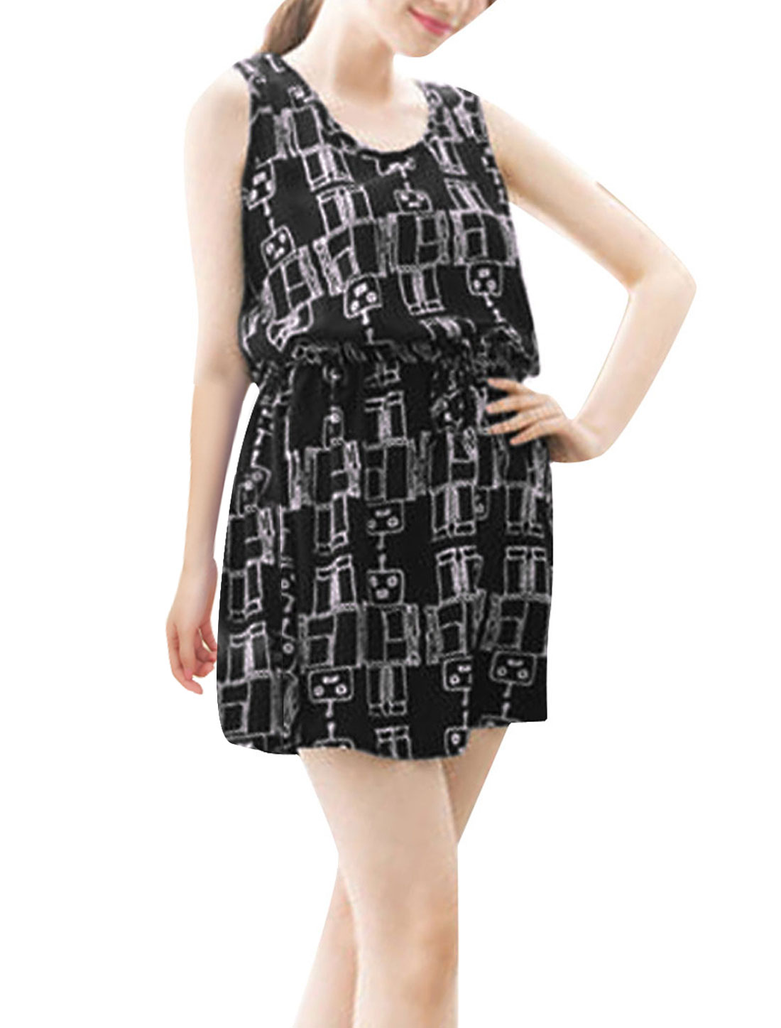 Woman Chic Drawstring Waist Cartoon Robots Pattern Black Mini Dress XS