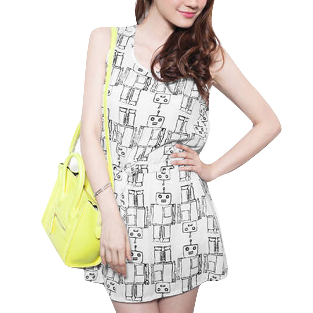 Ladies Round Neck Drawstring Waist Cartoon Robots Pattern White Mini Dress XS