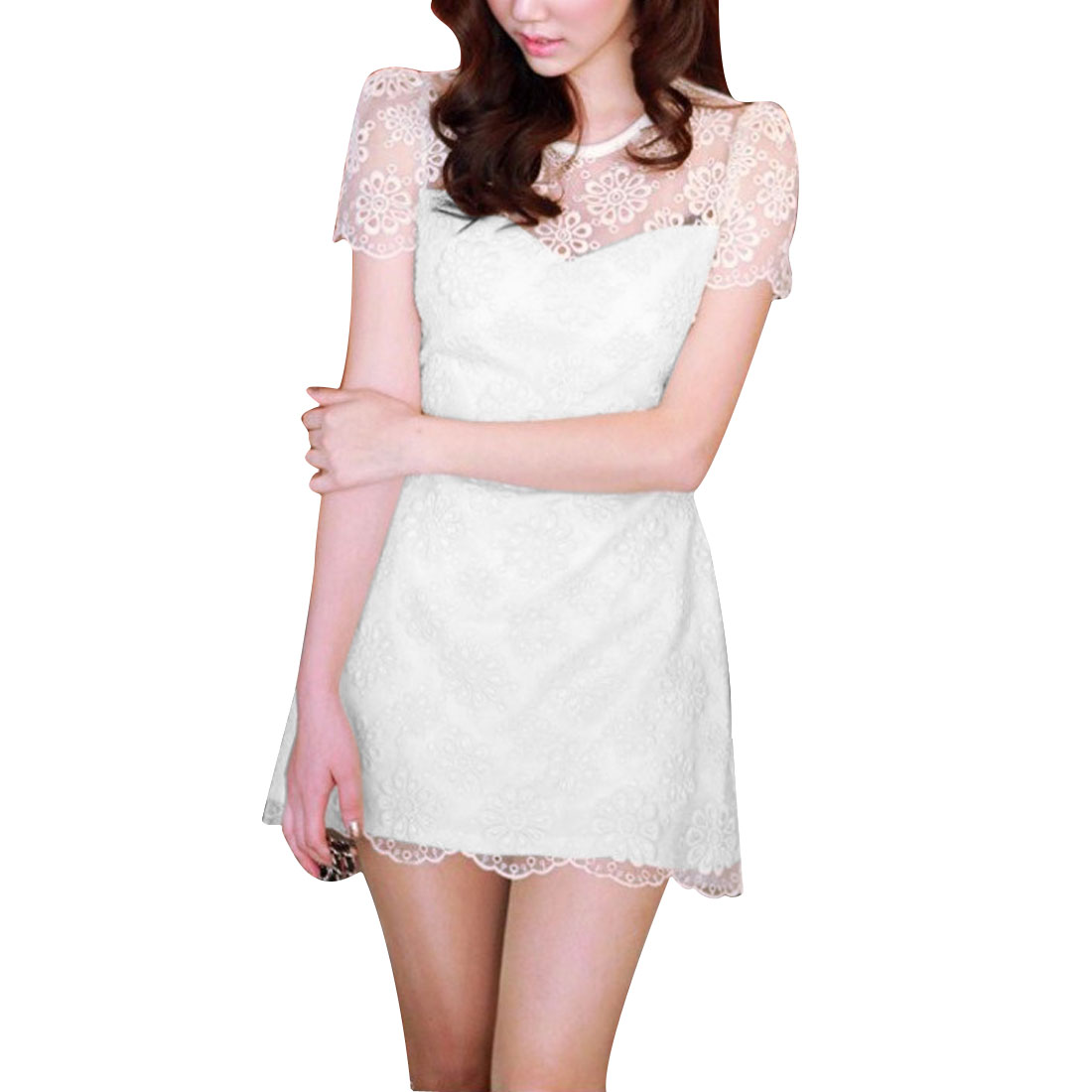 Ladies Round Neck Short Puff Sleeve Crochet Flower Design White Mini Dress XS