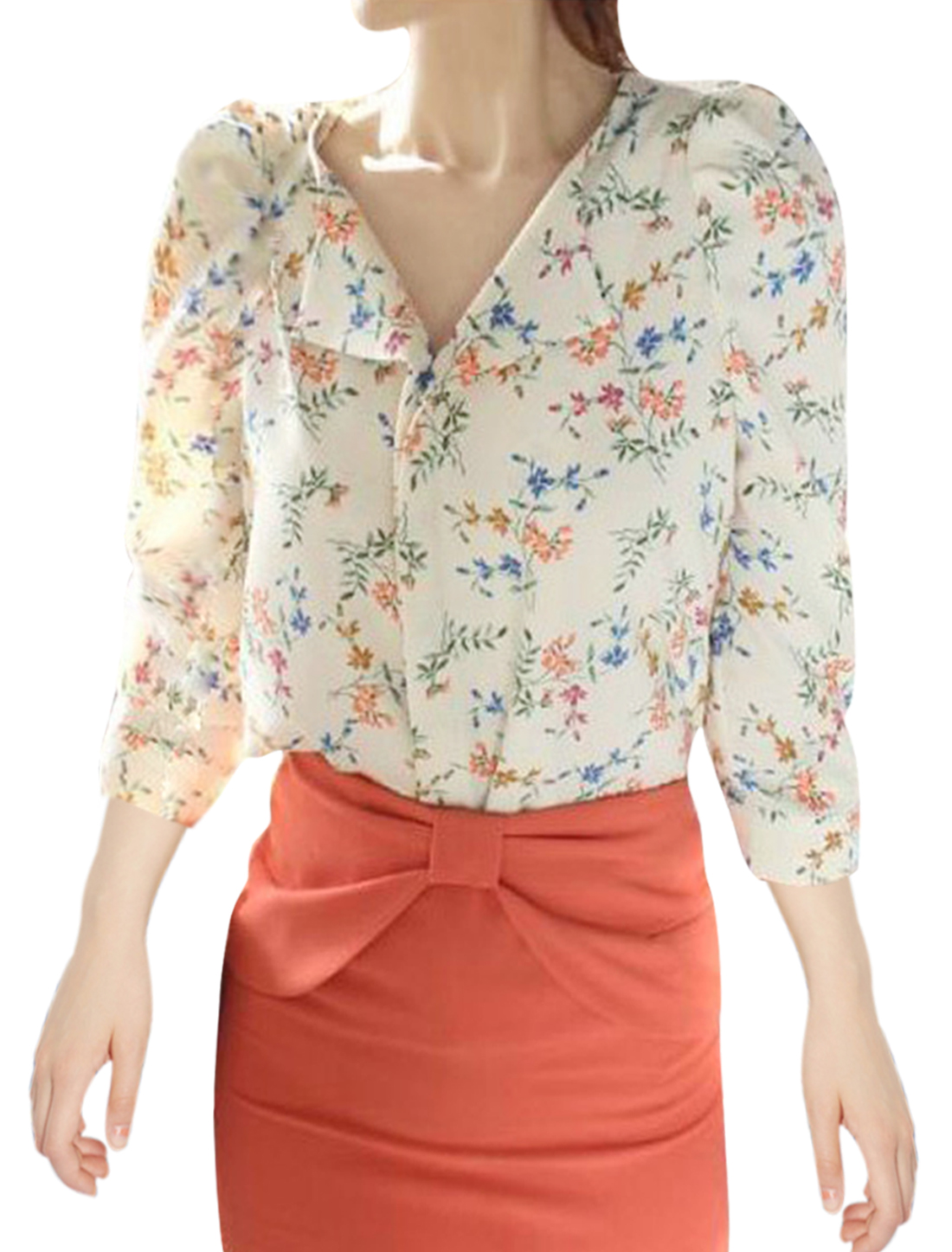 Women V Neck Design Floral Pattern Puff Sleeve Casual Blouse Beige XS