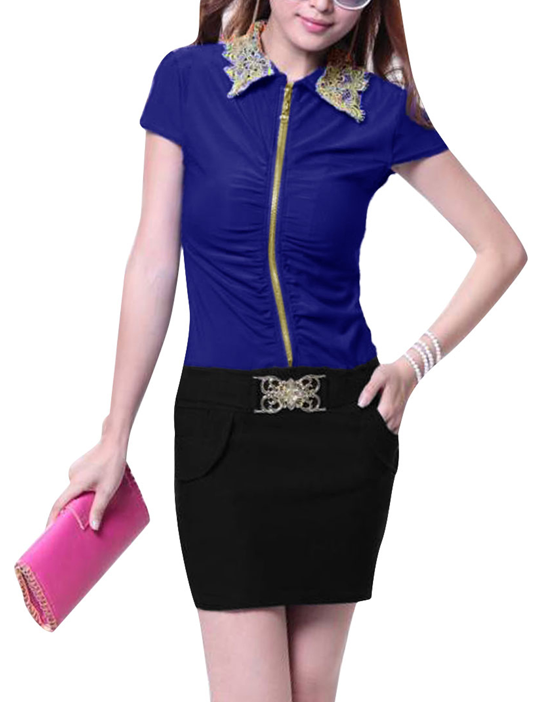 Women Point Collar Cap Sleeve Zipper Front Royalblue Black Mini Dress XS