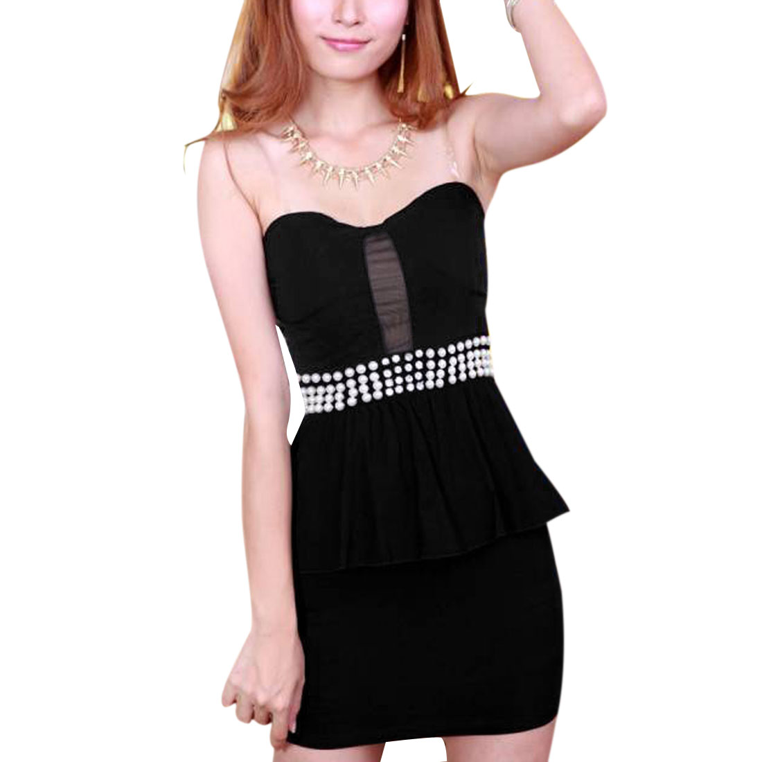Women Off Shoulder Transparent Straps Peplum Dress Black XS