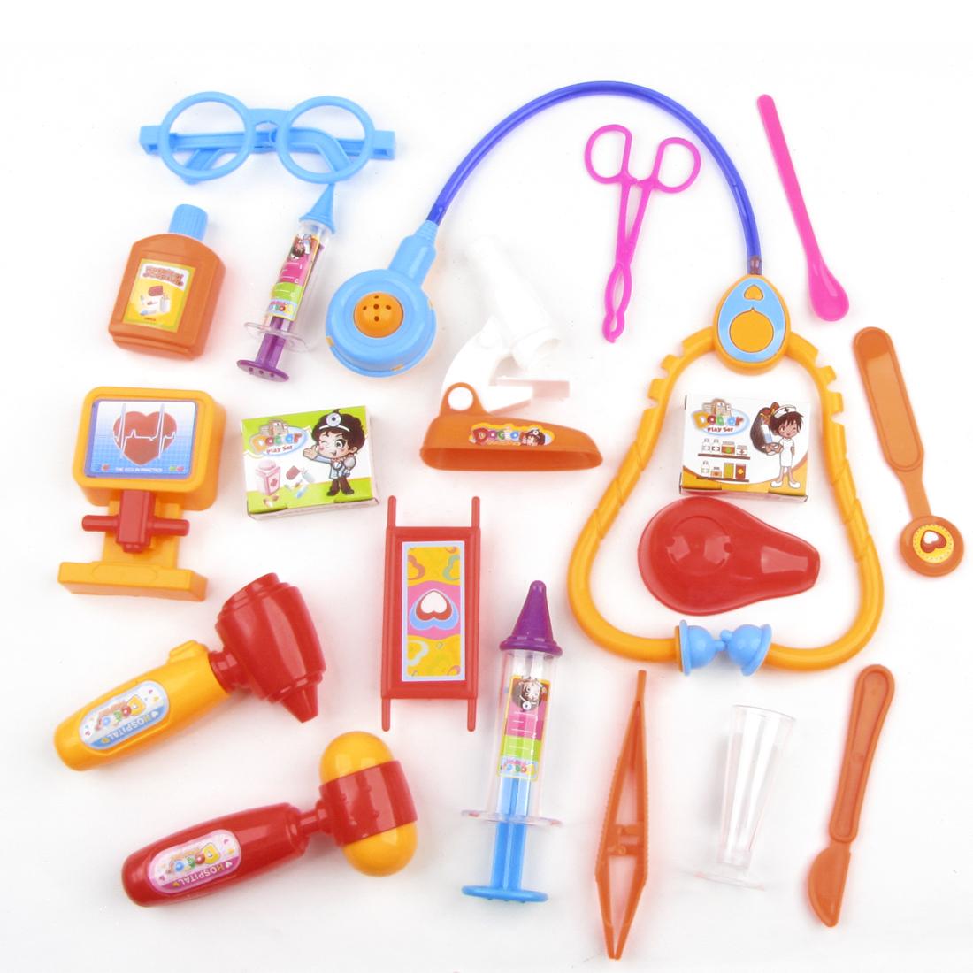 19 in 1 Child Fuchsia Orange Dark Yellow Injector Stethoscope Mini Hospital Toy