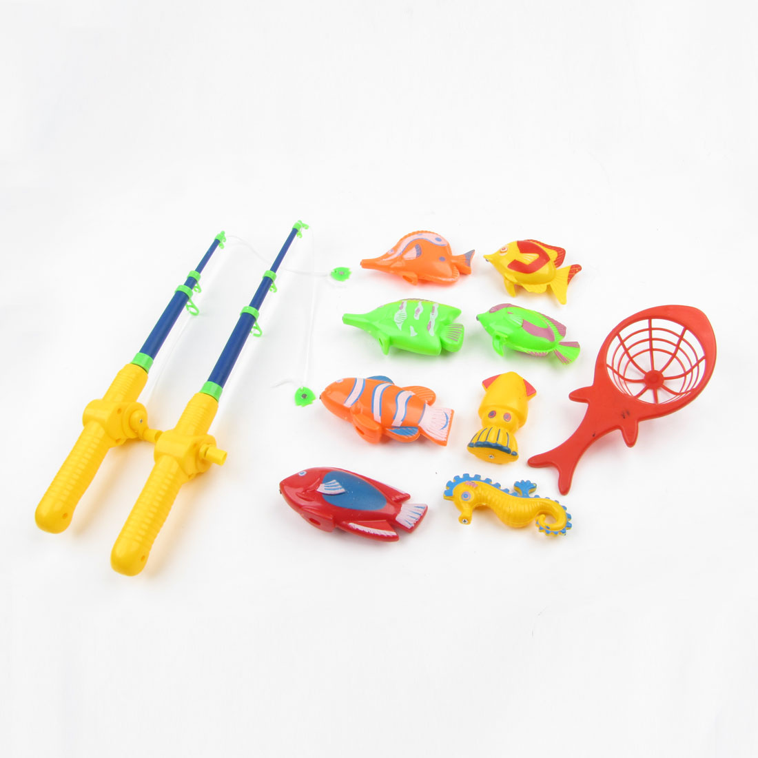 11 in 1 Children Orange Green Red Plastic Fish Rod Tropical Fishes Fishing Toy