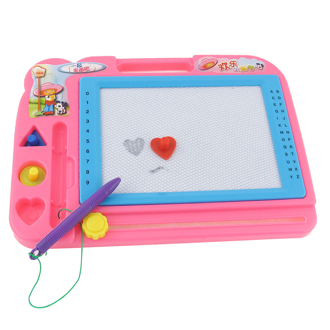 Child Pink Plastic Frame Magnetic Powder Pen Writing Board