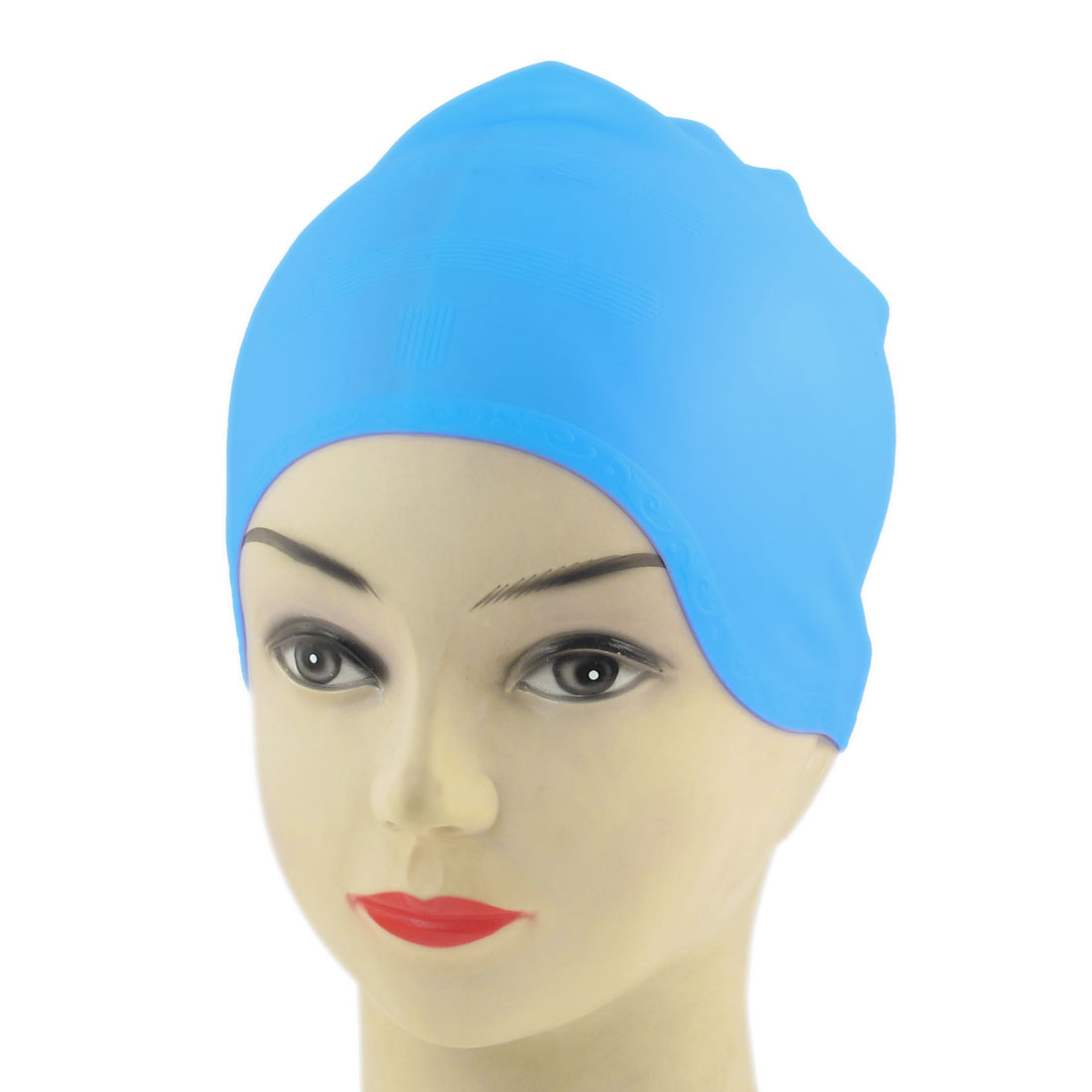 Flexible Stretchy Silicone Swimming Cap Baby Blue for Adult