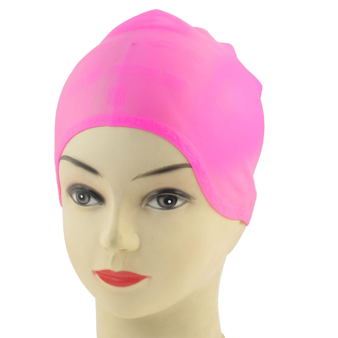 Pink Silicone Elastic Swimming Cap for Adult Swimmers