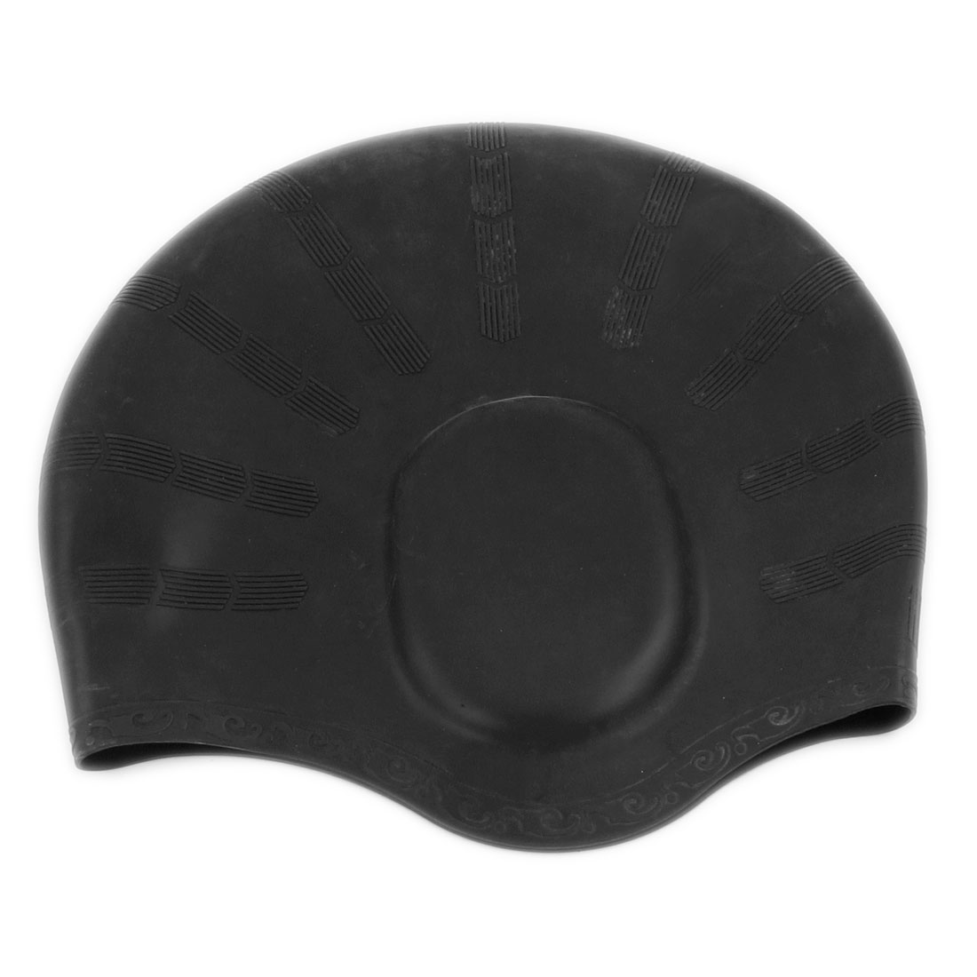 Black Silicone Elastic Swimming Cap for Adult Swimmers