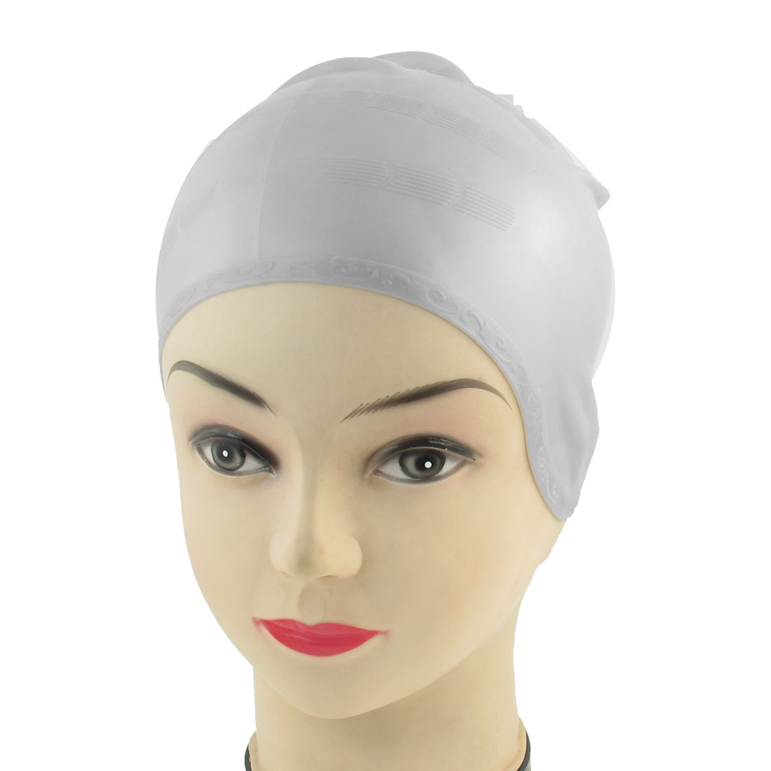 Adult Sporty Stretchy Silicone Swim Swimming Cap Light Gray