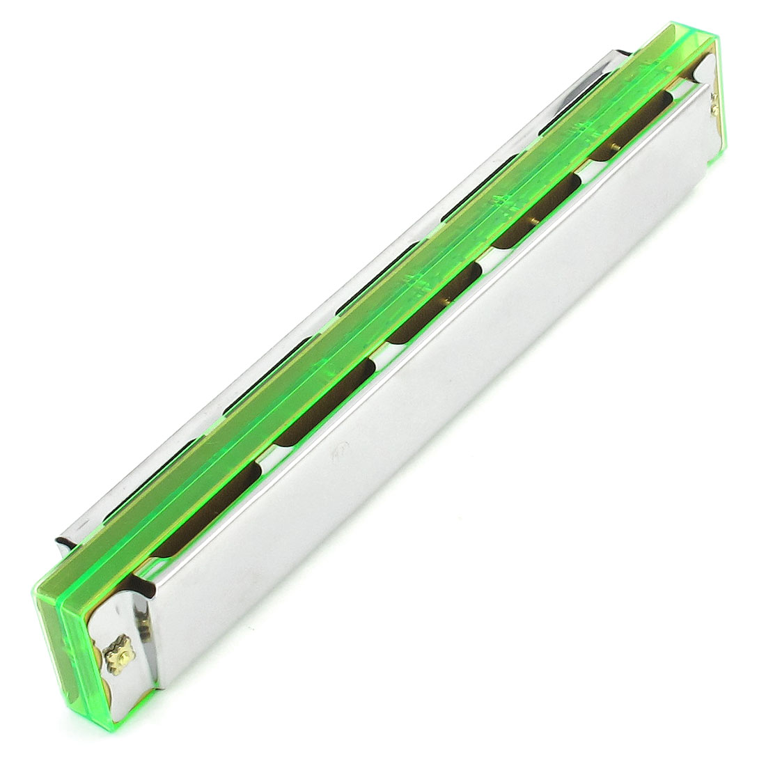 "6.9"" Long 48 Holes Silver Tone Harmonica Mouth Organ w Case Green"