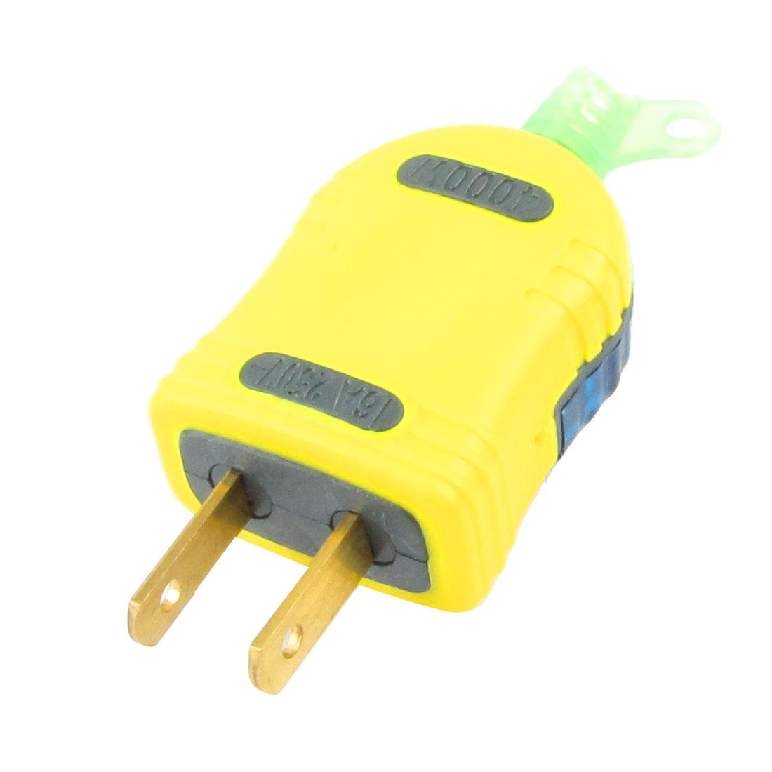 Blue Yellow Housing 2 Pin Power Adapter 250V 16A US AU Plug