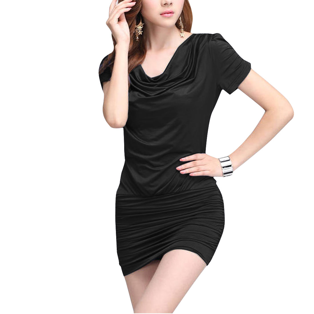 Ladies Cowl Neck Short Sleeve Elastic Side Design Black Mini Dress S
