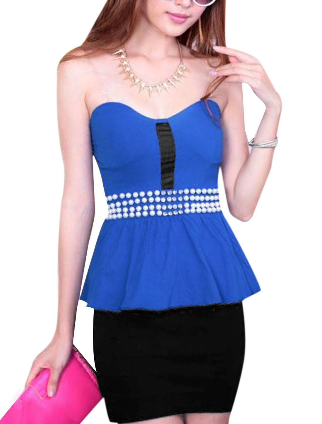 Women Sleeveless Zip Closure Mini Peplum Dress Blue Black XS