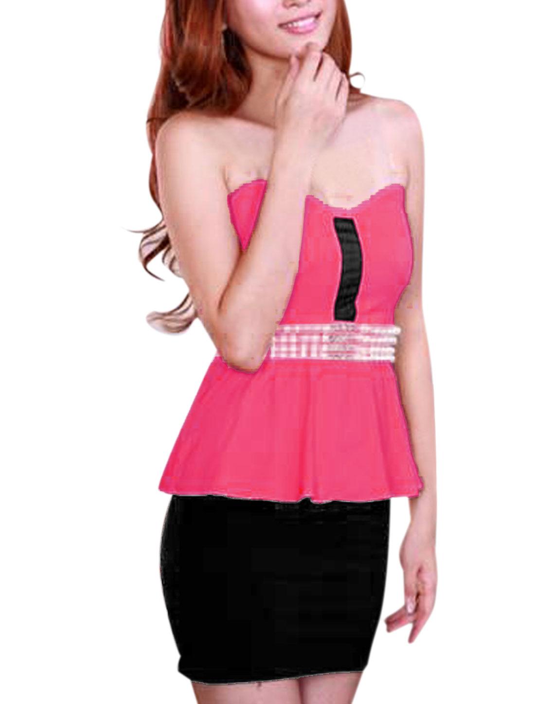 Women Sleeveless Transparent Straps Peplum Dress Fuchsia Black XS