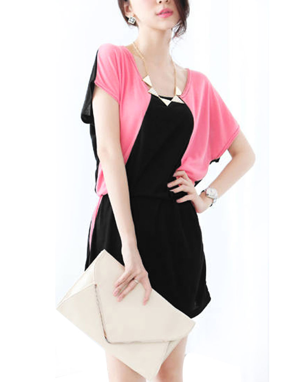 Women Round Neck Batwing Sleeve Stretchy Dress Hot Pink Black M