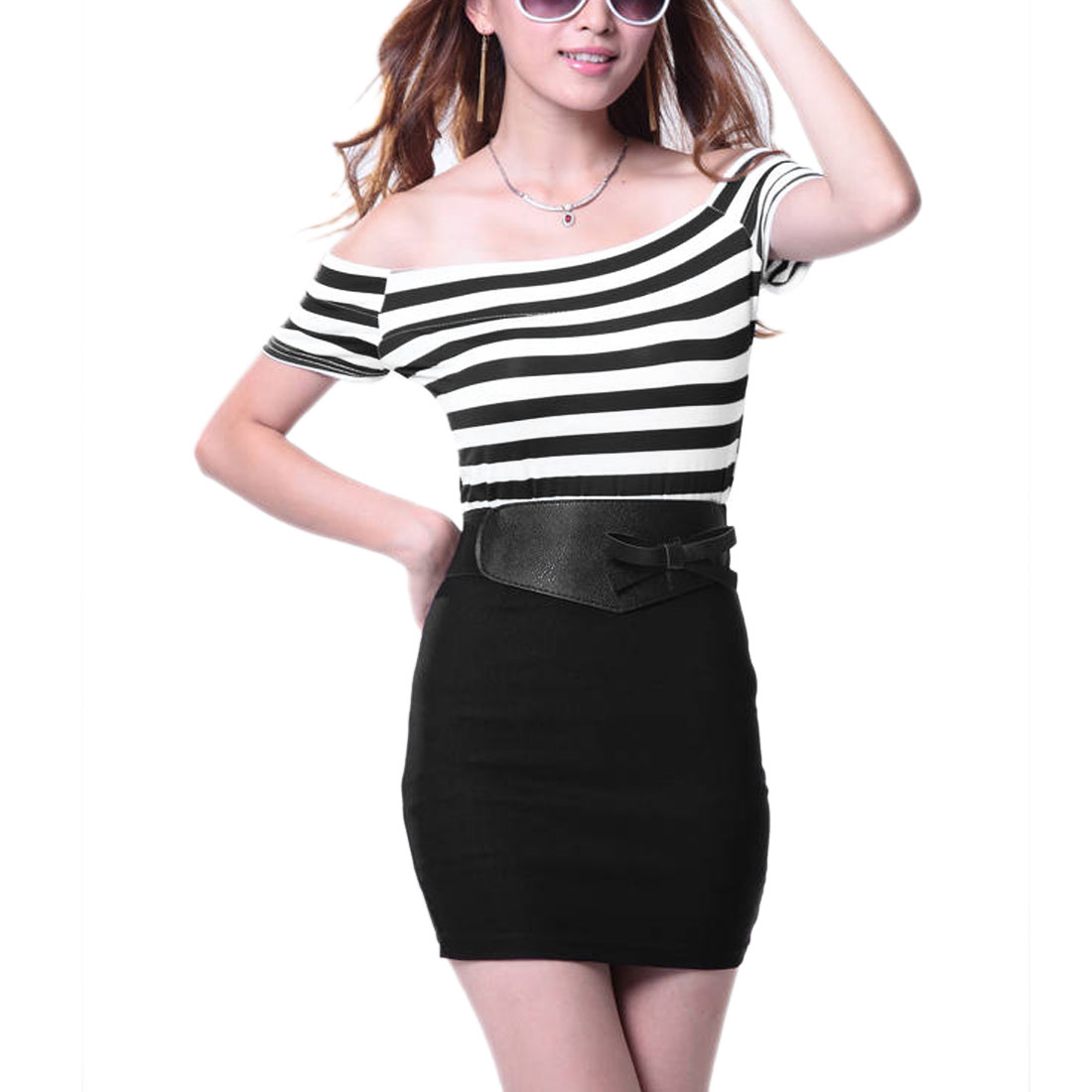 Women Off Shoulder Short Sleeve Stripes Dress Black White XS