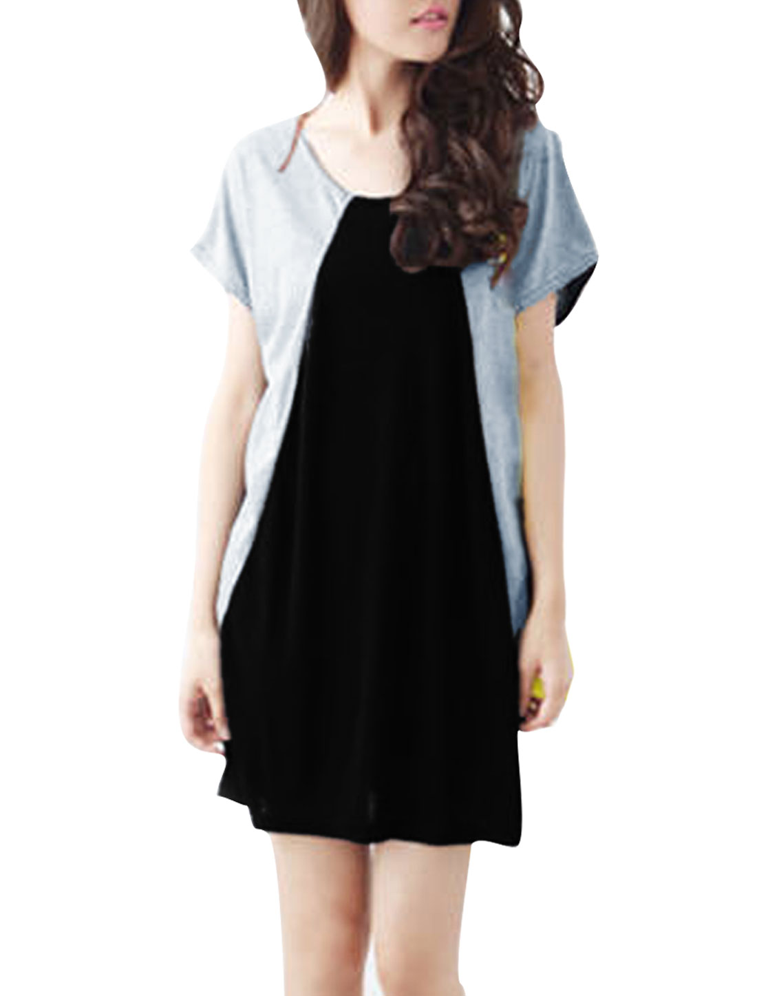 Women Round Neck Splice Loose Dress Light Gray Black M